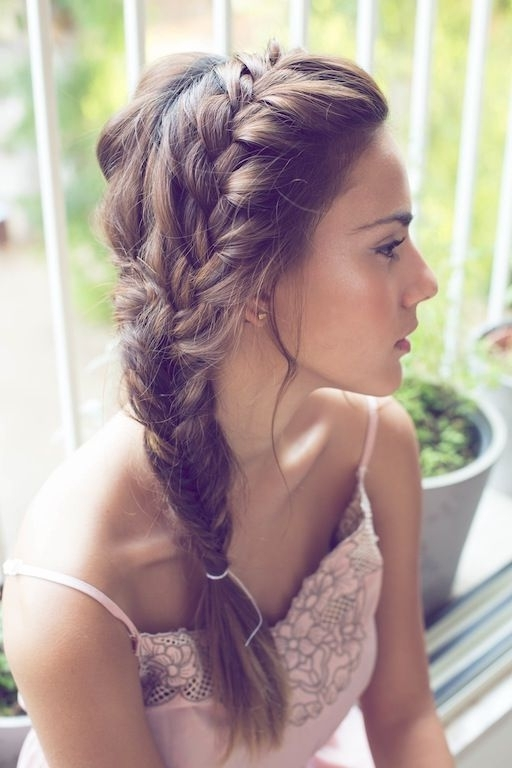 Side Fishtail Braid Hairstyle For Wedding Hairstyles For Fishtail Braid Wedding Hairstyles (View 12 of 15)