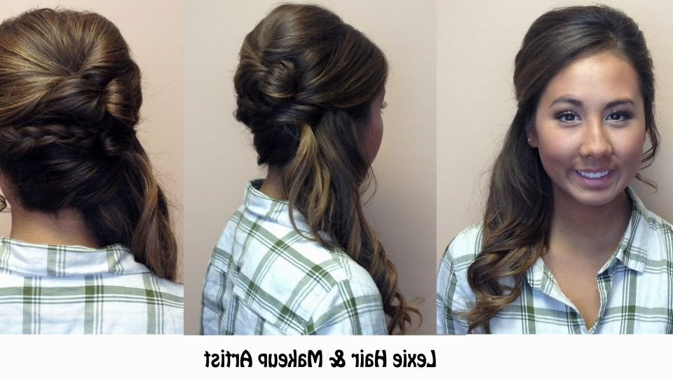 Side Pony Wedding Hair Wonderful Bridal Hairstyles Low Messy Curly With Wedding Hairstyles With Side Ponytail Braid (View 13 of 15)