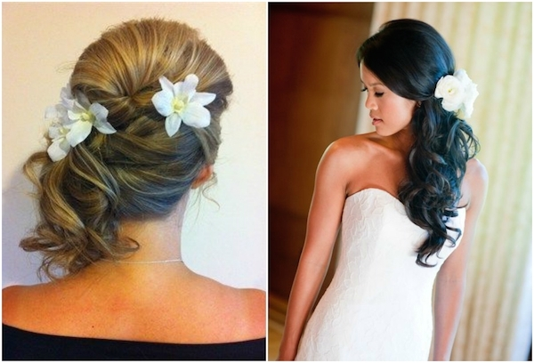 Wedding hair side swept curls with veil