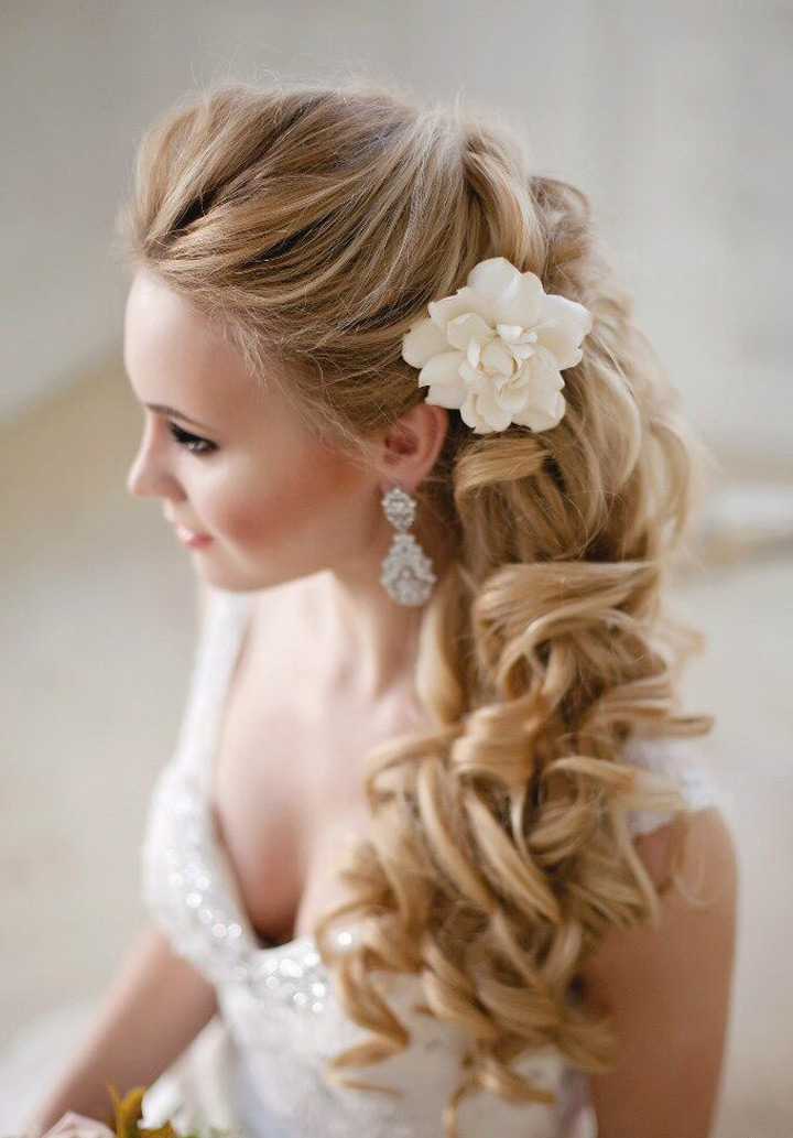Side Swept Wedding Hairstyles To Inspire – Mon Cheri Bridals Inside Wedding Hairstyles On The Side With Curls (View 3 of 15)