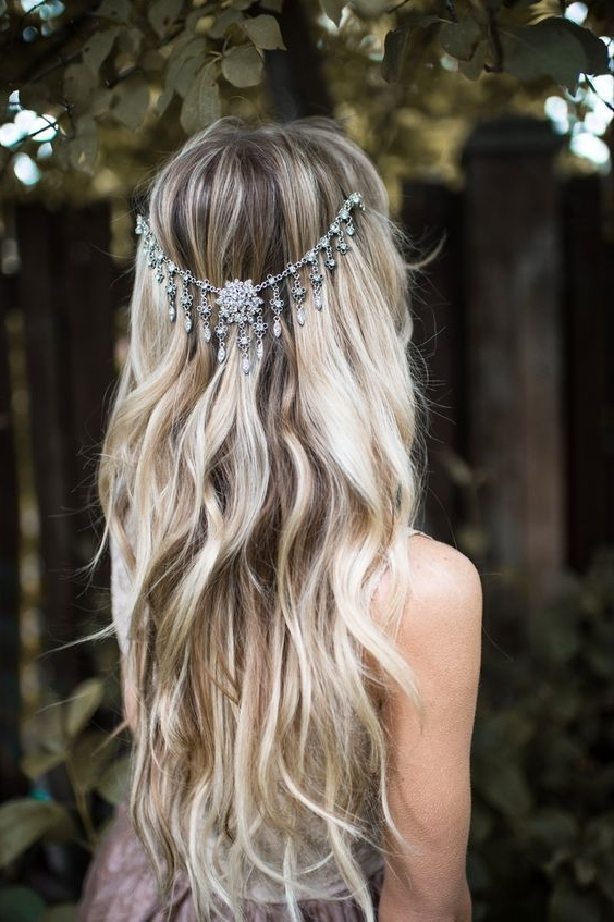 Silver Bridal Draped Hair Chain Wavy Wedding Hairstyle | Wavy With Regard To Wedding Hairstyles For Long Boho Hair (View 12 of 15)