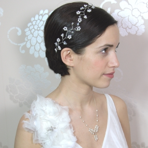 Simple Wedding Hairstyles For Short Hair With Simple Flower Tiara Inside Wedding Hairstyles For Short Hair With Veil And Tiara (View 5 of 15)