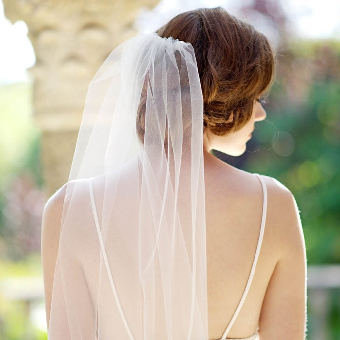 Single Tier Chapel Length Soft Tulle Long Bridal Veil – Lunss Couture Pertaining To Wedding Hairstyles For Shoulder Length Hair With Veil (View 6 of 15)
