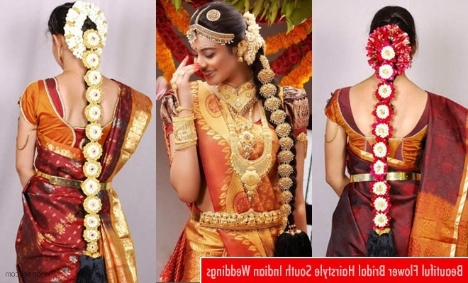 South Indian Bridal Hairstyle With Flowers For Wedding Glamour For Indian Wedding Hairstyles (View 4 of 15)