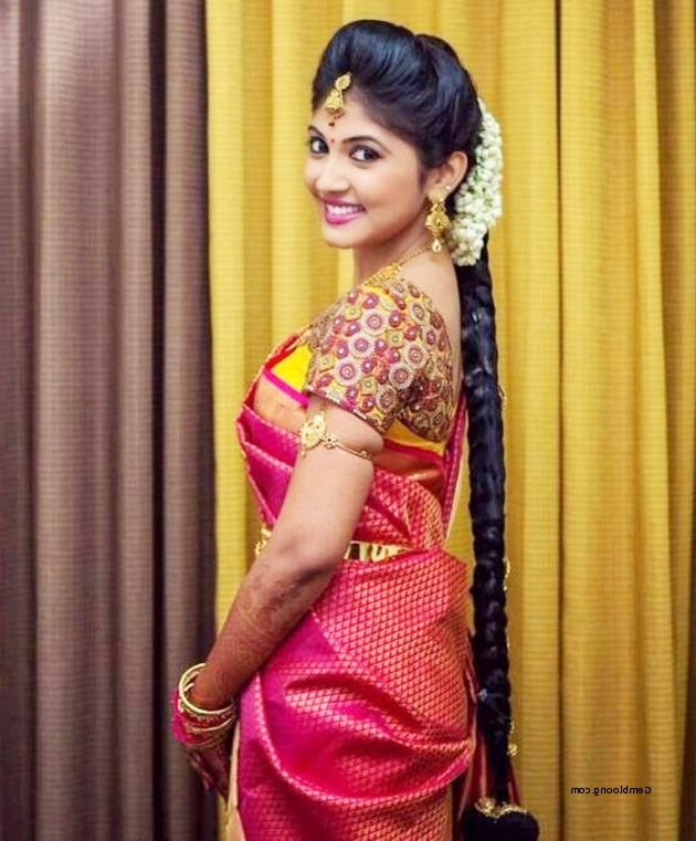South Indian Bridal Hairstyles For Long Hair Beautiful 10 Trendy Throughout South Indian Wedding Hairstyles For Long Hair (View 5 of 15)