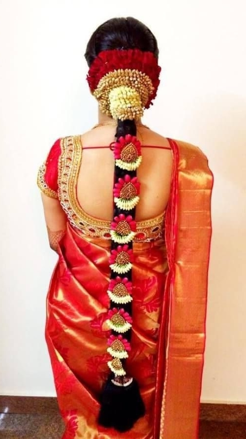 South Indian Wedding Hairstyles Long Braid With Jewelery And Flowers Inside South Indian Wedding Hairstyles For Medium Length Hair (View 7 of 15)