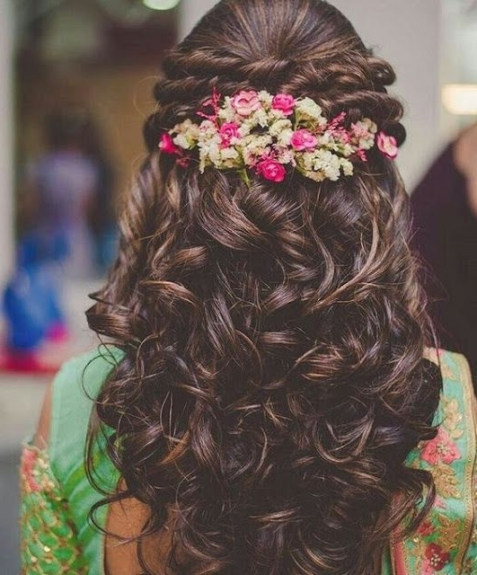 Stunning Reception Hairstyles For 2018 | South Indian Wedding For Indian Wedding Reception Hairstyles For Long Hair (View 10 of 15)