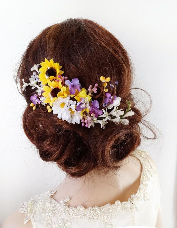 Sunflower Hair Accessories Wedding | Wrsnh Intended For Wedding Hairstyles With Sunflowers (View 5 of 15)