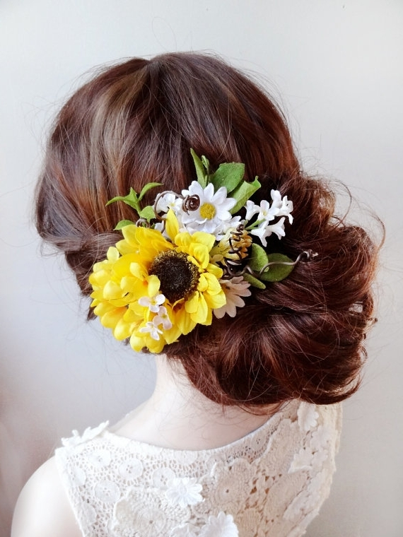 Sunflower Head Wreath, Yellow Flower Accessory, Bridal Hair Piece Throughout Wedding Hairstyles With Sunflowers (View 3 of 15)