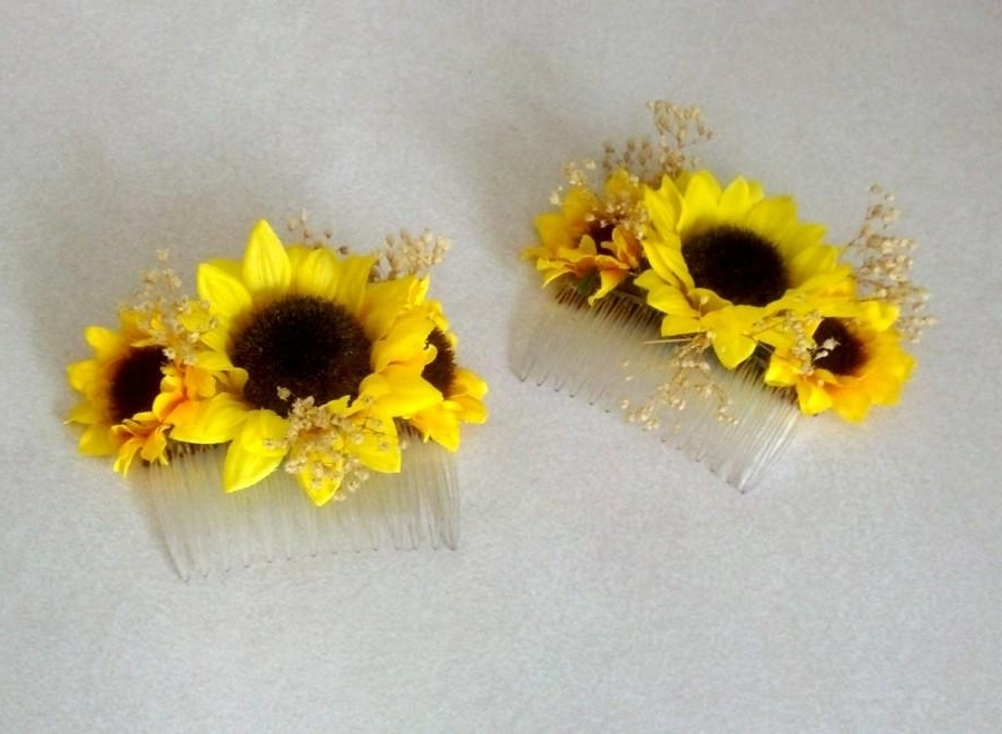 Sunflower Wedding Hair Accessory Bridal Hairpiece Comb Summer Dried Pertaining To Wedding Hairstyles With Sunflowers (View 9 of 15)
