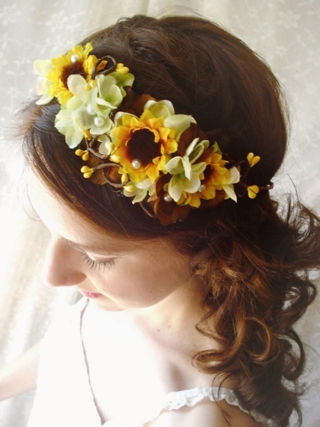 Sunflower Wedding, Sunflower Headband, Sunflower Headpiece, Yellow Within Wedding Hairstyles With Sunflowers (View 4 of 15)