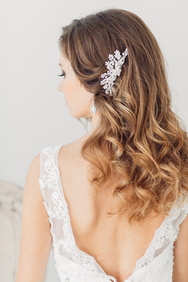 Top 20 Bridal Headpieces For Your Wedding Hairstyles Inside Wedding Down Hairstyles For Medium Length Hair (View 10 of 15)