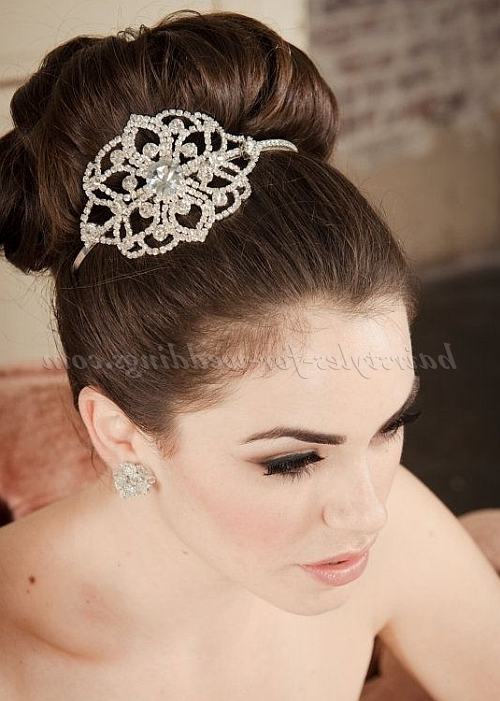 Top Bun Wedding Hairstyles – High Bun Wedding Hairstyle | Hairstyles Pertaining To High Bun Wedding Hairstyles (View 13 of 15)