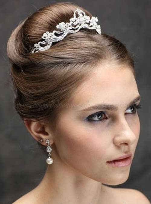 Top Bun Wedding Hairstyles – High Bun Wedding Hairstyle With Tiara Throughout Wedding Updos For Long Hair With Tiara (View 8 of 15)