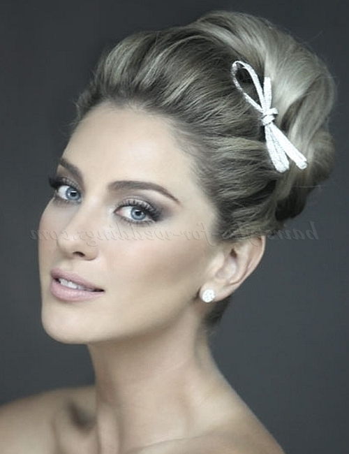 Top Bun Wedding Hairstyles – Top Bun Bridal Hairstyle | Hairstyles In High Bun Wedding Hairstyles (View 14 of 15)