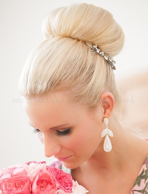 Top Bun Wedding Hairstyles – Top Bun Wedding Hairstyle | Hairstyles Regarding High Bun Wedding Hairstyles (View 2 of 15)