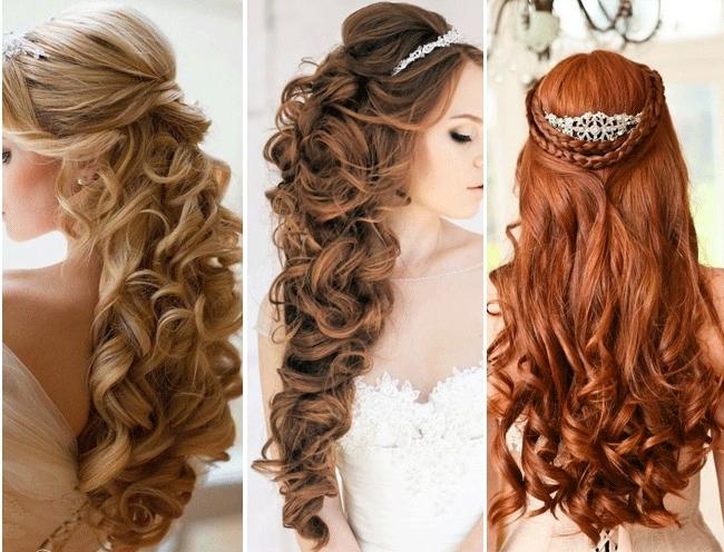 Top Half Down Wedding Hairstyles | Medium Hair Styles Ideas – 18951 In Part Up Part Down Wedding Hairstyles (View 14 of 15)