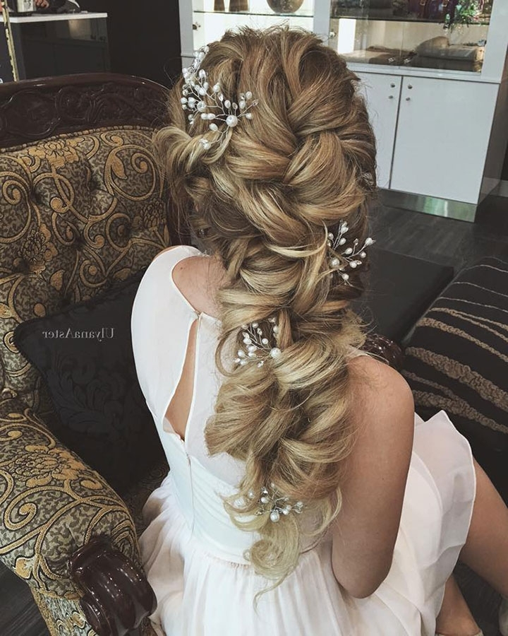 Tousled, Twisted, Braided Hair Down Styles For Brides – Mon Cheri With Wedding Hairstyles Down With Braids (View 11 of 15)