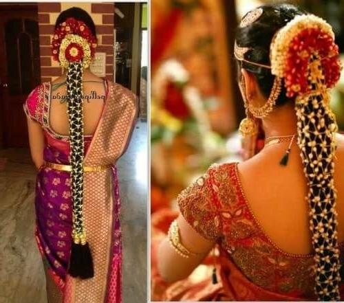 Unique Kerala Wedding Hairstyle: Long Braid With Flower Net For Kerala Wedding Hairstyles For Long Hair (View 7 of 15)
