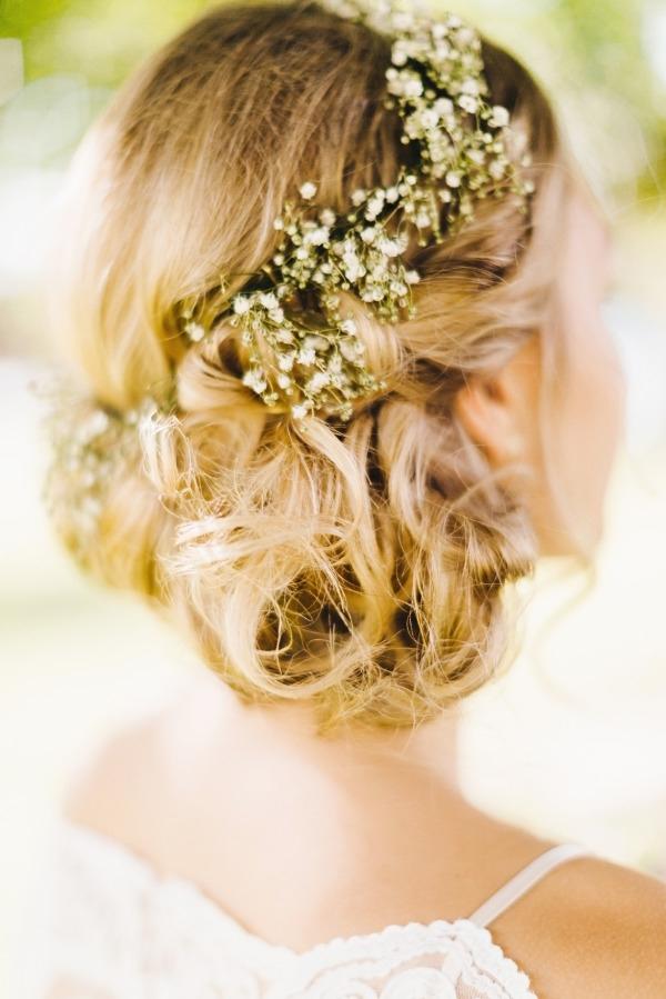 Vinatge Rustic Wedding Hairstyle Low Bun Updo With Baby's Breath For Rustic Wedding Hairstyles (View 13 of 15)