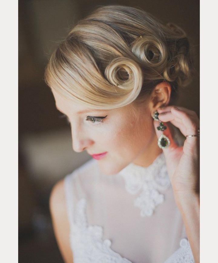 Vintage Pin Curls For Nostalgic Brides – Mon Cheri Bridals With Pin Curls Wedding Hairstyles (View 3 of 15)