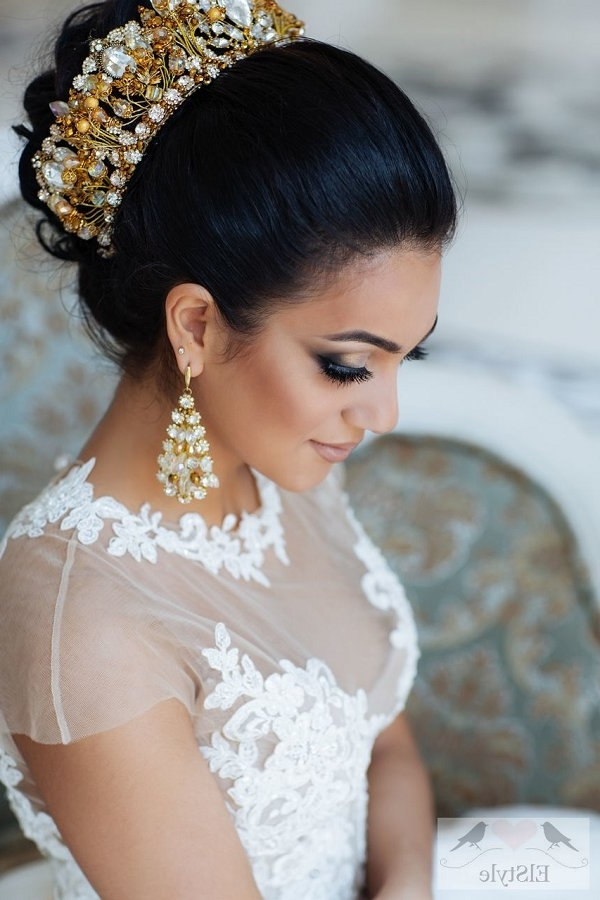 Vintage Updo Wedding Hairstyle With Crown | Deer Pearl Flowers Intended For Wedding Hairstyles With Crown (Gallery 2 of 15)