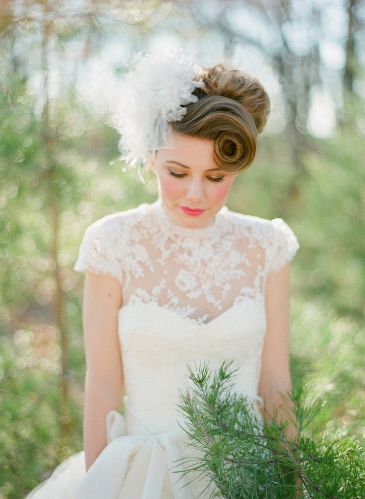 Vintage Updo Wedding Hairstyle With Veil | Elite Wedding Looks In Vintage Updo Wedding Hairstyles (View 14 of 15)