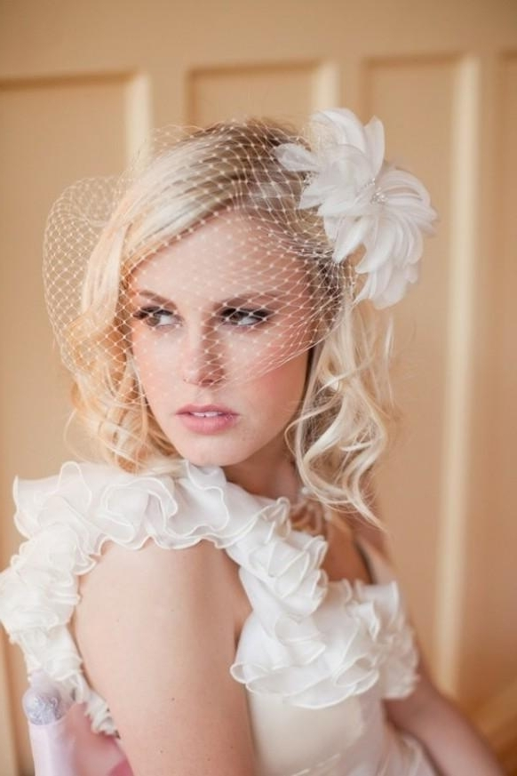 Vintage Wedding Hairstyle With Birdcage Veil For Blond Hair | Elite Inside Wedding Hairstyles For Long Hair With Birdcage Veil (View 13 of 15)