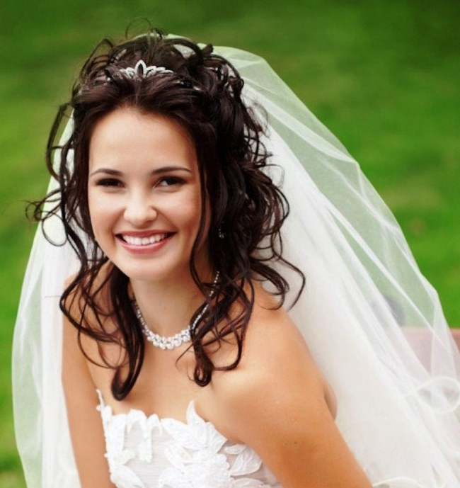 Vintage Wedding Updos For Long Hair With Veil And Tiara 2018 Regarding Wedding Updos For Long Hair With Tiara (View 9 of 15)