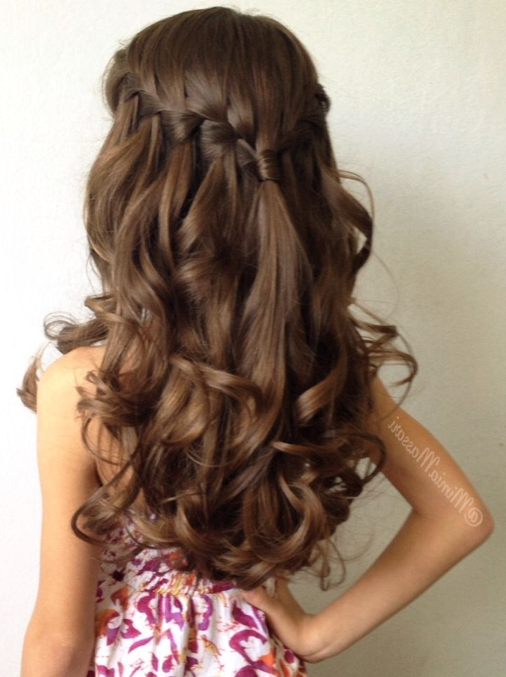 Waterfall Braid With Curls@mimiamassari | Braids & Hair Within Wedding Hairstyles For Girls (View 14 of 15)