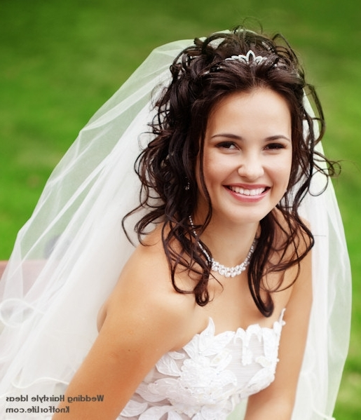 Wavy Wedding Hairstyle With Veil And Tiara Wedding Hairstyles With Inside Wedding Hairstyles For Long Hair With Veil And Headband (View 3 of 15)