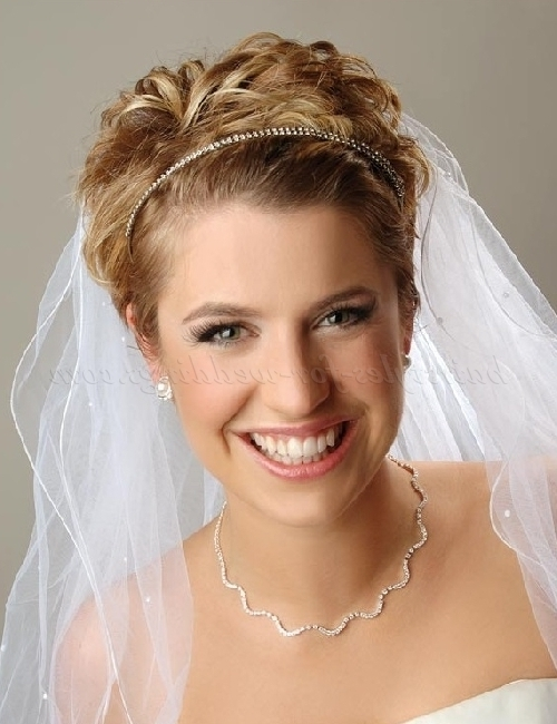 Wedding Caps And Veils – Short Wedding Hairstyle With Two Tier Veil Within Bridal Hairstyles For Short Length Hair With Veil (View 3 of 15)