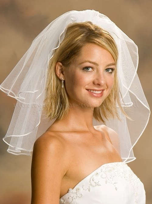 Wedding Caps And Veils – Shoulder Length Wedding Veil | Hairstyles Pertaining To Bridal Hairstyles For Medium Length Hair With Veil (View 2 of 15)