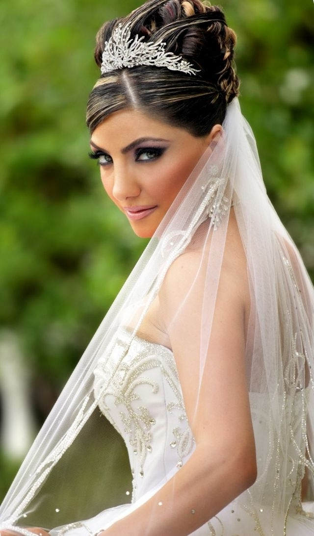 Wedding Hair With Tiara And Veil – Skyranreborn For Wedding Hairstyles For Long Hair Down With Veil And Tiara (View 10 of 15)