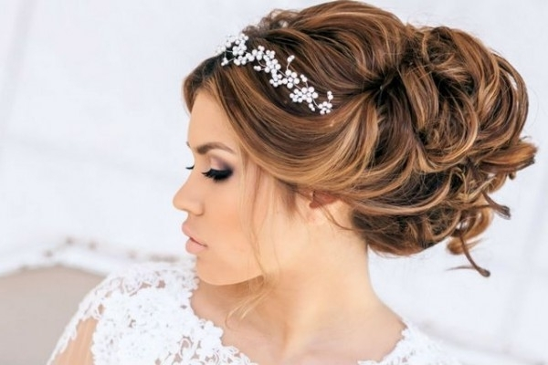 Wedding Hairstyle For Medium Hair Updo With Tiara Pertaining To Updos Hairstyles