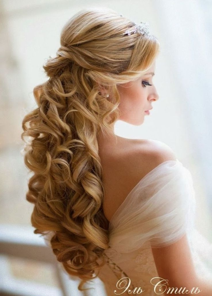 Wedding Hairstyle For Medium Long Hair: Curly Half Up Half Down With Half Up Half Down Wedding Hairstyles For Long Hair (View 15 of 15)
