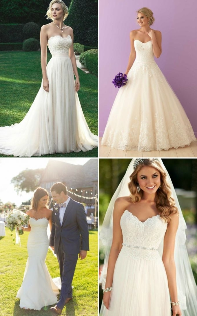 Wedding Hairstyle Inspiration For Wedding Dresses Of 7 Necklines Regarding Wedding Hairstyles For A Strapless Dress (View 15 of 15)