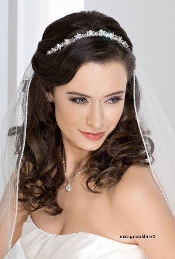 Wedding Hairstyle With Veil And Tiara Inspirational Wedding Pertaining To Wedding Hairstyles For Long Hair With Veils And Tiaras (View 9 of 15)