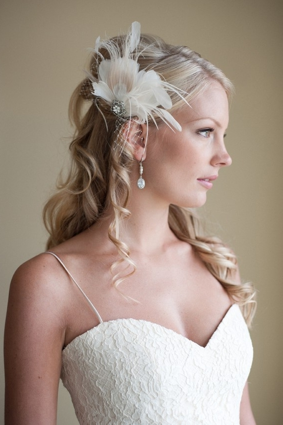 Wedding Hairstyles For Long Hair With Ivory Feather Fascinator With Wedding Hairstyles For Long Hair With Fascinator (View 8 of 15)