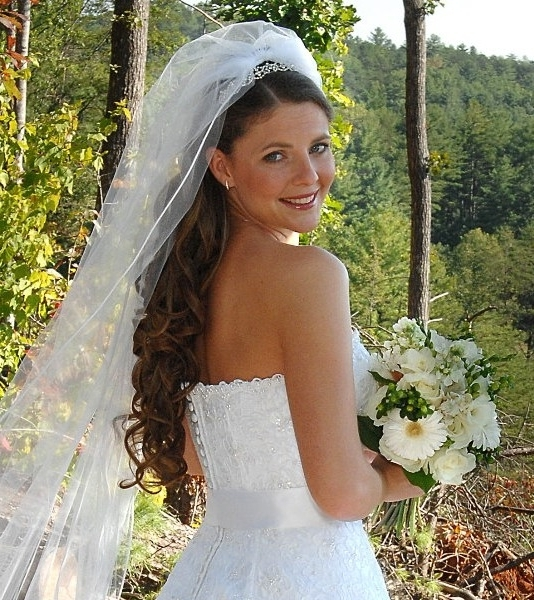 Showing Gallery Of Wedding Hairstyles For Long Hair Down With Veil