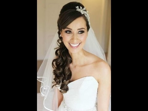 Wedding Hairstyles For Long Hair With Veil And Tiara – Youtube Throughout Wedding Hairstyles With Tiara And Veil (View 6 of 15)