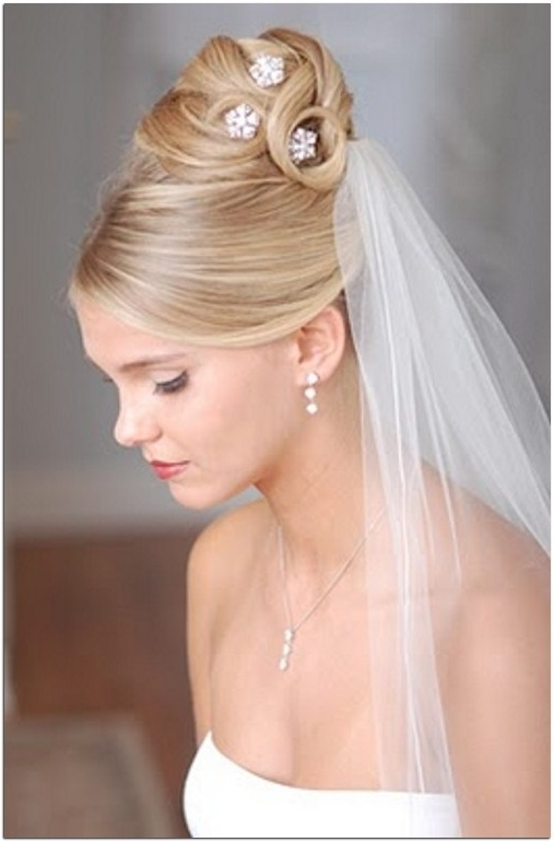 Wedding Hairstyles For Medium Length Hair With Tiara And Veil Within Bridal Hairstyles For Medium Length Hair With Veil (View 6 of 15)