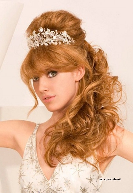 Wedding Hairstyles For Thick Hair Awesome Beautiful Wedding Within Wedding Hairstyles For Medium Length Hair With Bangs (View 13 of 15)