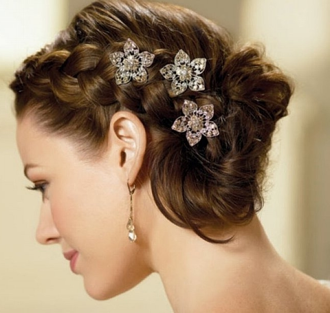 Wedding Hairstyles Ideas: Braided Bun Medium Length Wedding Inside Wedding Hairstyles For Medium Length Thin Hair (View 7 of 15)