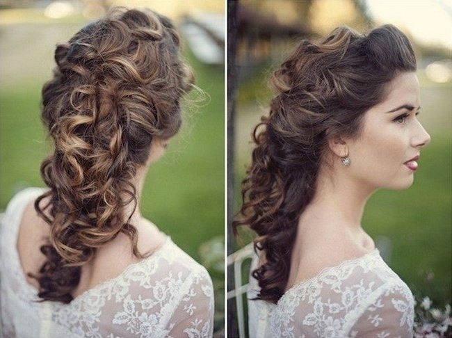 Wedding Hairstyles Ideas: Curly Half Up Wedding Hairstyles For Long With Wedding Hairstyles For Long Thick Hair (View 2 of 15)