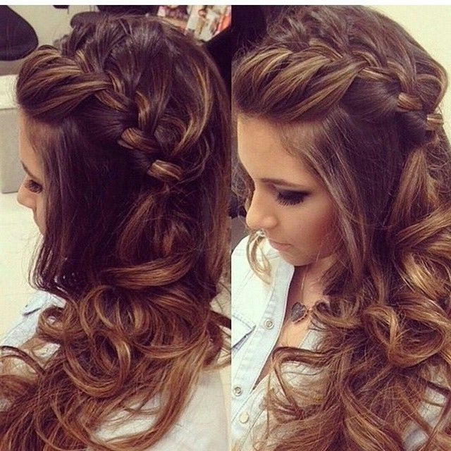 Wedding Hairstyles Ideas: Side Braided Curly All Down Wedding Guest For Wedding Guest Hairstyles For Long Hair Down (View 4 of 15)