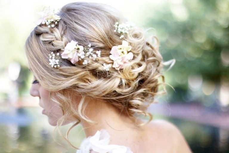 Wedding Hairstyles Ideas: Side Ponytail Braids Messy Low Updo Fancy In Wedding Hairstyles For Medium Length Hair With Flowers (View 3 of 15)