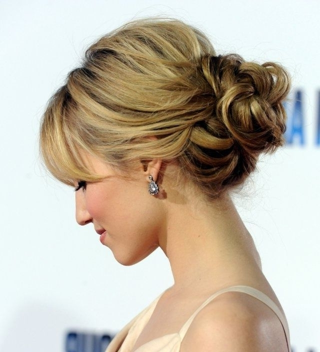 Wedding Hairstyles Ideas: Side Ponytail Wavy Low Updo Wedding Guest Throughout Wedding Guest Hairstyles For Medium Length Hair With Fringe (View 6 of 15)