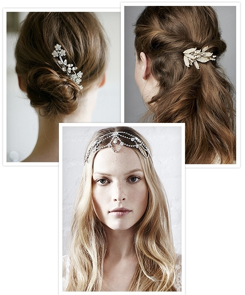 Wedding Hairstyles: Jennifer Behr's Hair Jewels Hairbands, Combs Inside Wedding Hairstyles With Jewels (View 8 of 15)