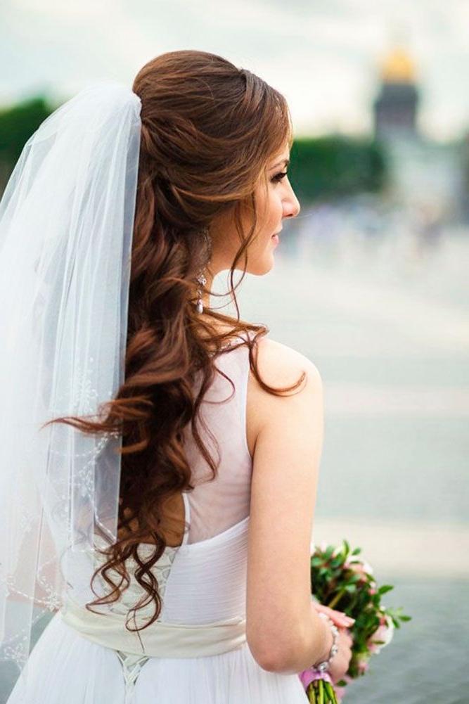 Wedding Hairstyles Long Hair Down Veil Unique 42 Wedding Hairstyles With Regard To Wedding Hairstyles For Long Hair Down With Veil (View 14 of 15)